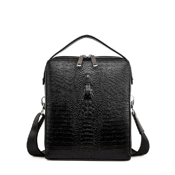 Genuine Leather Crocodile Pattern Crossbody Bag Briefcase iPad Bag