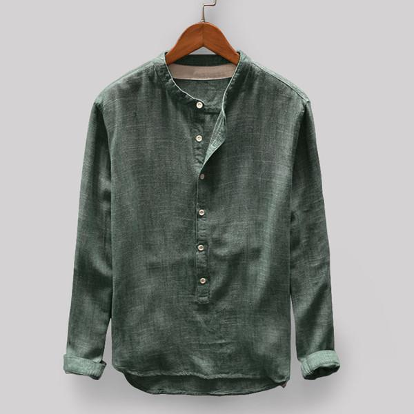 Vintage Solid Color Stand Collar Long Sleeve Loose Casual T-shirt