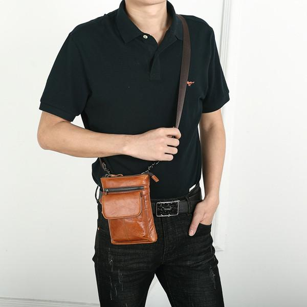 Genuine Leather Waist Bag Vintage Phone Bag Crossbody Bag