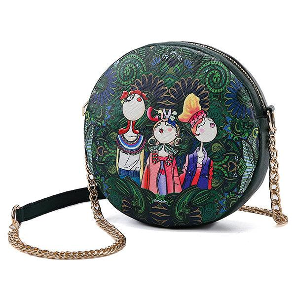 Faux Leather Bohemian Print Round Chain Bag Shoulder Bag