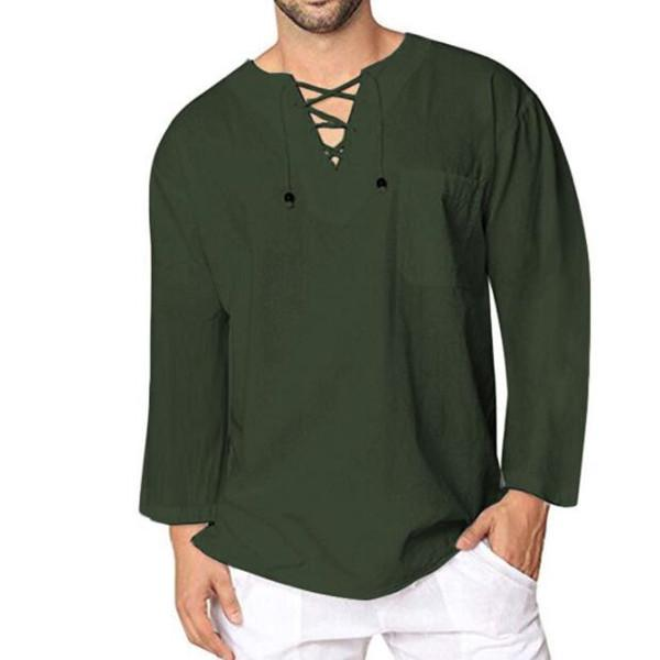 Casual Shirt V-neck Long Sleeve Lace Up Baggy Male Tee Shirt