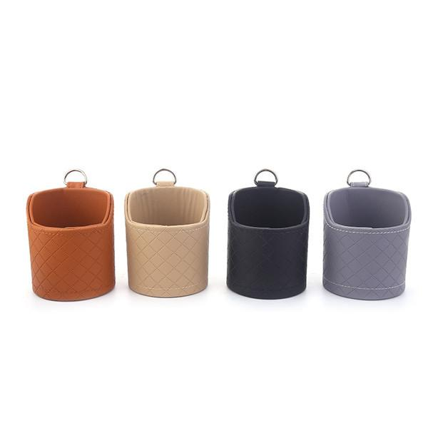 Drum Double-layer Genuine Leather Car Air Outlet Storage Bag