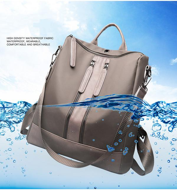 Elegant Waterproof Double Zipper PU Multi-function School Backpack