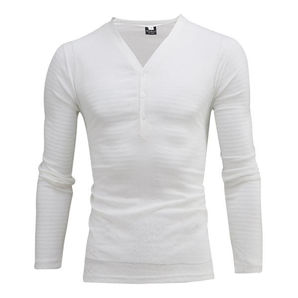 Deep V-neck Buttons Breathable Long Sleeve Casual Cotton T-shirt