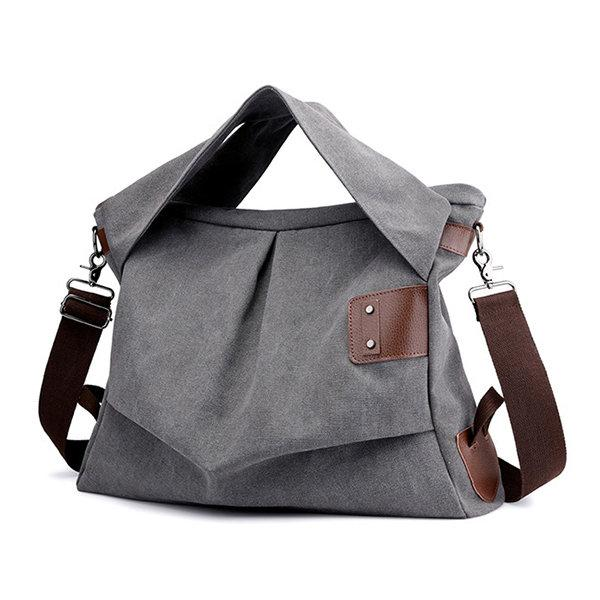 KVKY Canvas Casual Large Capacity Tote Handbag Crossbody Bag