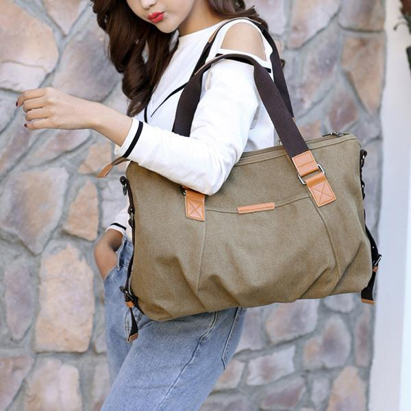 Canvas Solid Crossbody Bag Leisure Large Capacity Handbag