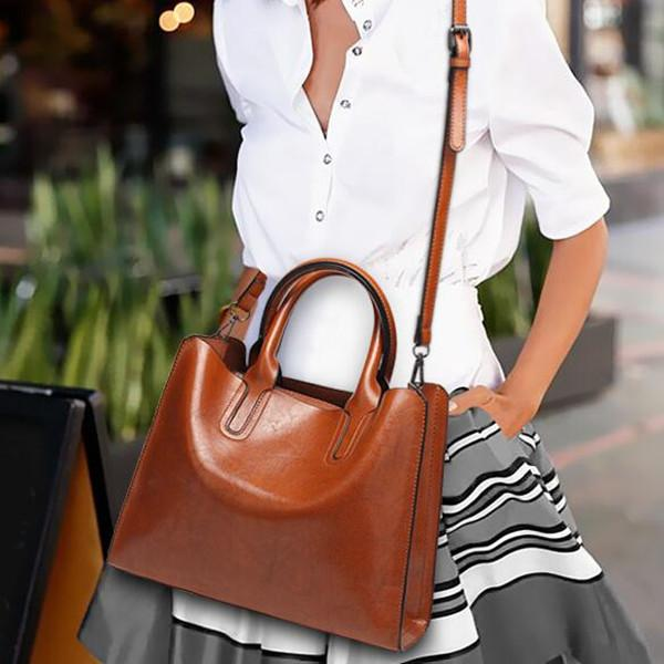 Vintage Oil Wax PU Leather Handbag Large Capacity Crossbody Bag