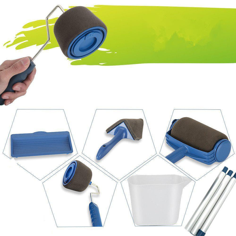 8Pcs/Set Paint Roller Set with Sticks Paint Roller Pro Decorate Runner Tool Painting Brush Set