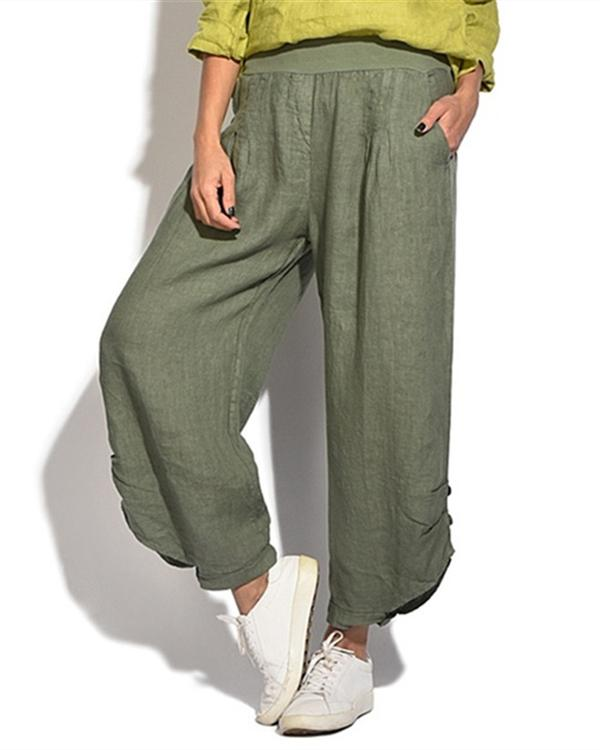 Solid Casual Button Elastic Waist Wide Leg Pants