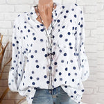 Casual Stand Collar Polka Dot Shirts with Pocket