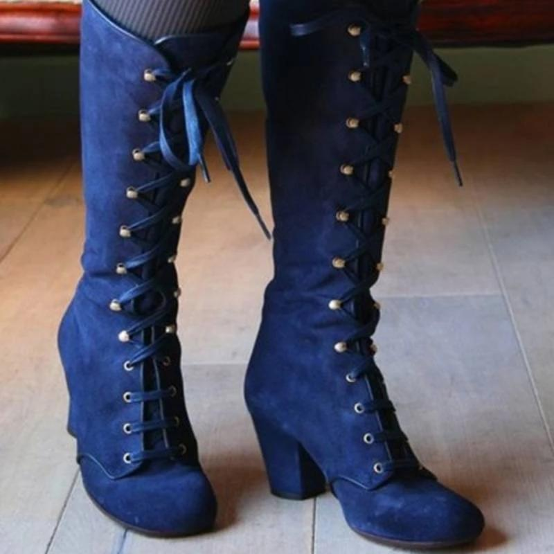 Details about Women Medieval Gothic High Heel Leather Lolita Mid Calf Knee High Lace Up Boots