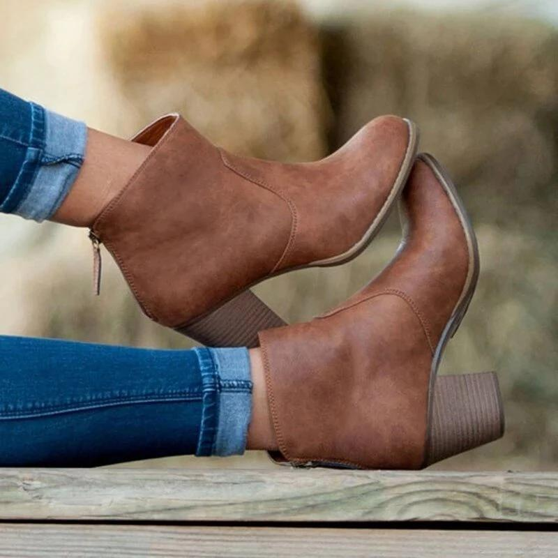 Round Toe High Heel Suede Ankle Boots