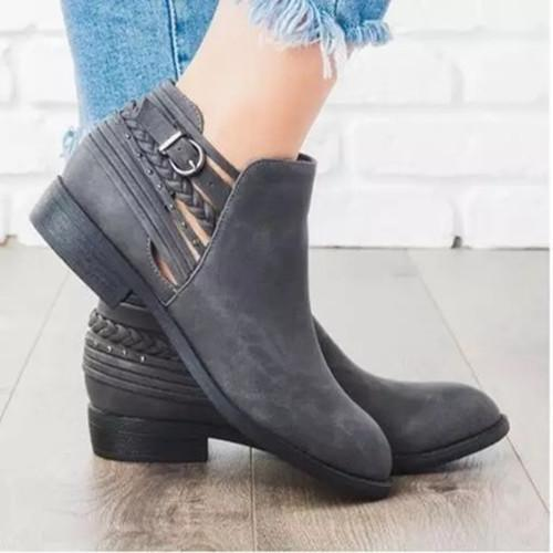 Pu Solid Low-Heels Daily Casual Ankle Booties