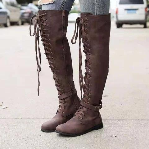 Plus Size Lace Up Knee Height Leather Riding Boots