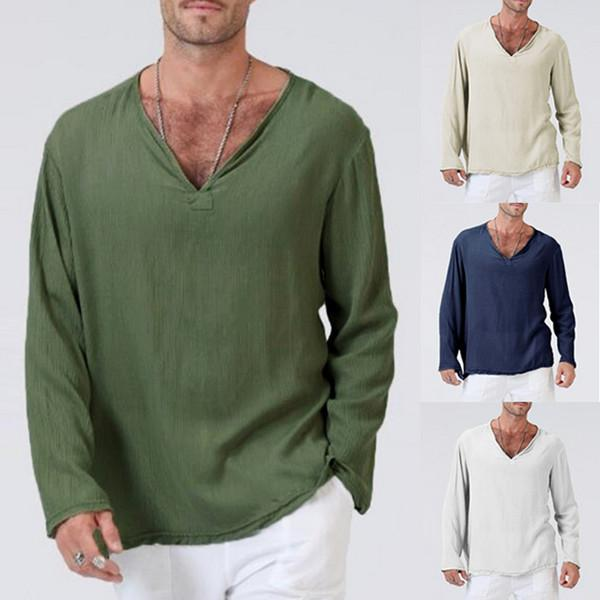 100% Cotton V-neck Long Sleeve Solid Color Loose Fit Casual Tops