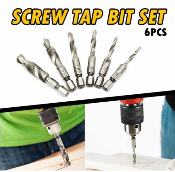 Screw Tap Drill Bit Set (Set of 6)