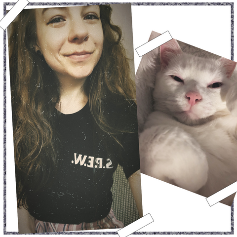 Photo of myself on the right, and my cat on the left.