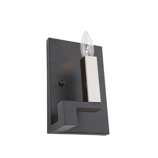 "Artcraft Urban Chic 1 Light 9"" Wall Light, Matte Black/Satin Nickel - AC11131"