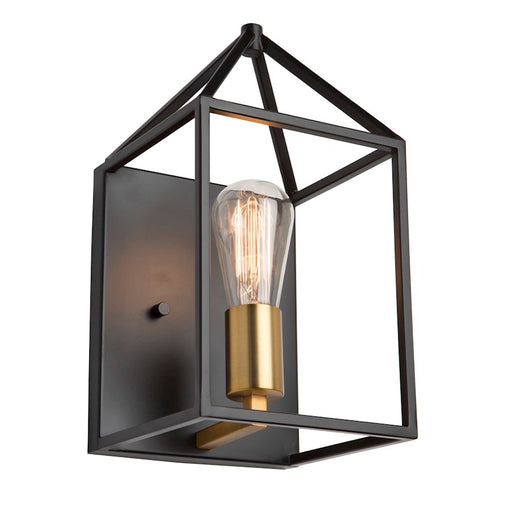 "Artcraft Twilight 1 Light 12"" Wall Light, Matte Black/Harvest Brass - SC13070"