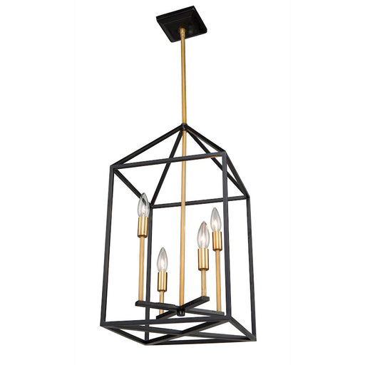 "Artcraft Twilight 4 Light 23"" Chandelier, Matte Black/Harvest Brass - SC13074"