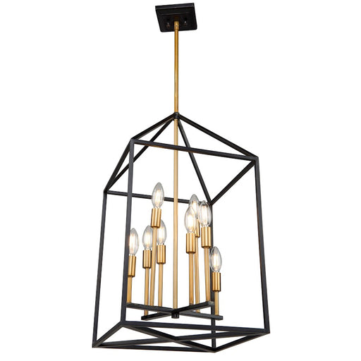 "Artcraft Twilight 8 Light 28"" Chandelier, Matte Black/Harvest Brass - SC13078"