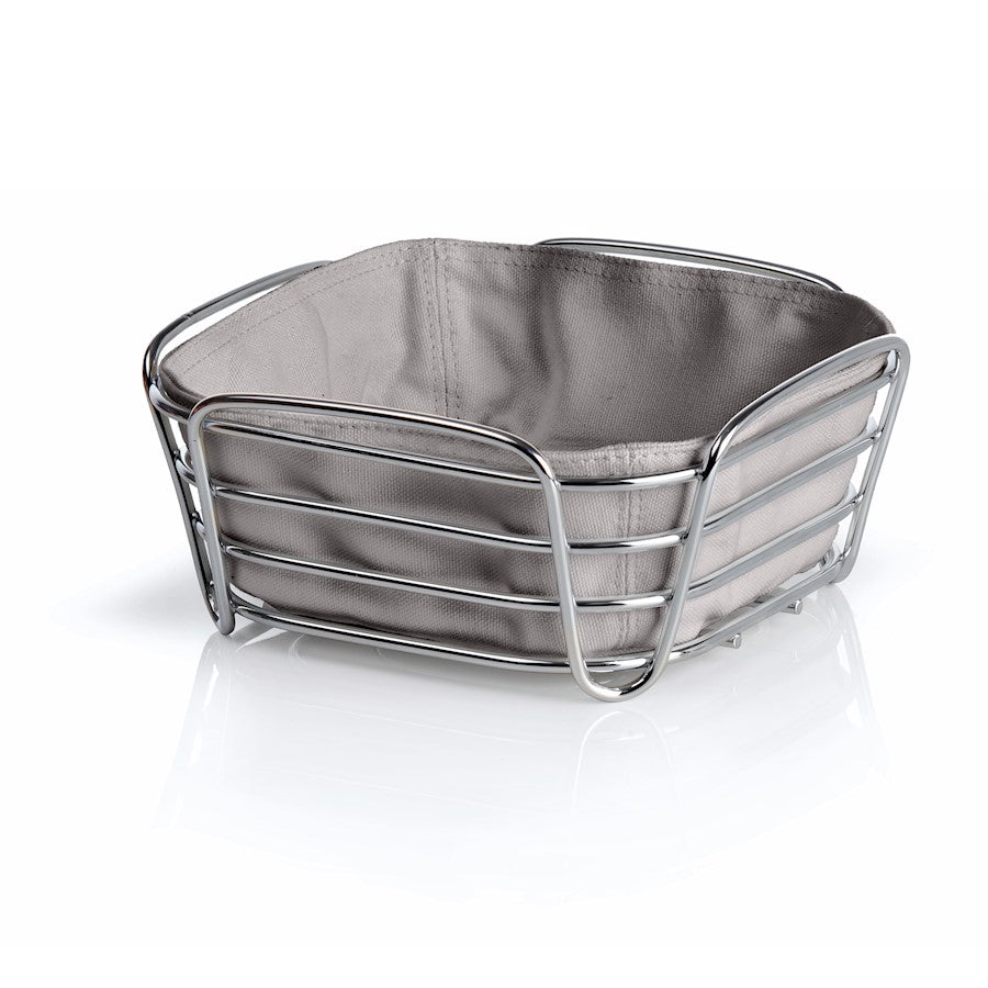Blomus Delara Bread Basket, Sm Taupe, Chrome Plated Steel Wire, Cotton - 63667