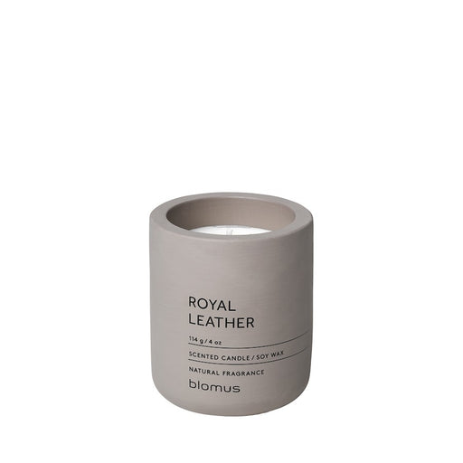 Blomus Fraga Small Candle, Satellite (Taupe) With Royal Leather Scent - 65950