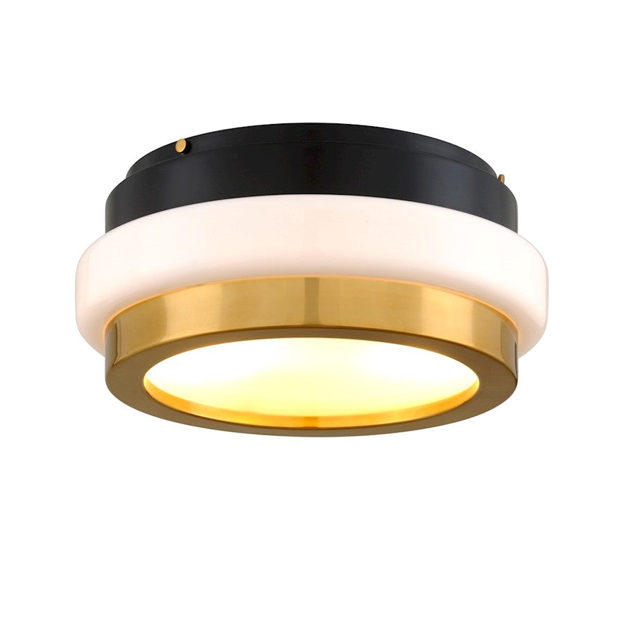 Corbett Lighting Beckenham 2 Light Flush Mount, Polished Brass/Black - 299-32