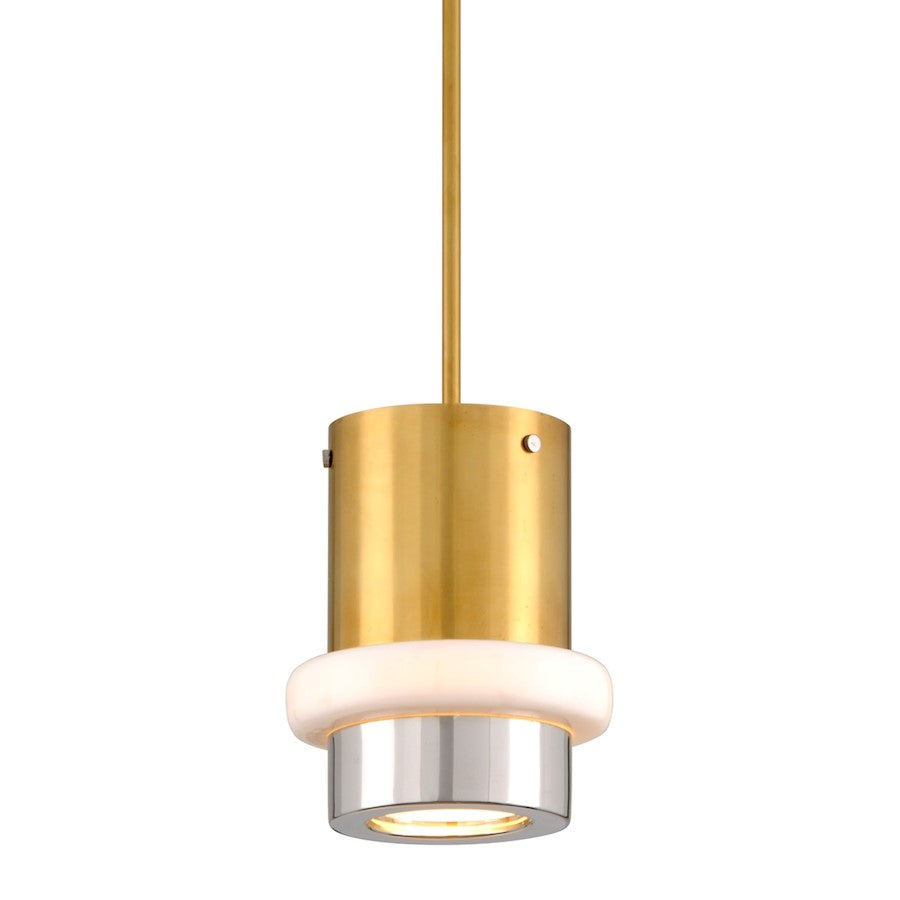 "Corbett Lighting Beckenham 1 Light 8"" Chandelier, Polished Brass/Nickel - 300-41"