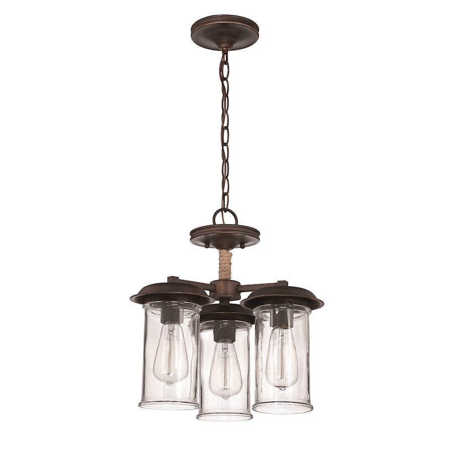 Craftmade Thornton 3 Light Convertible Pendant, Aged Bronze