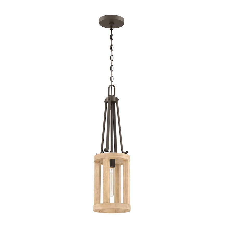 Craftmade Astoria 1 Light Mini Pendant, Cast Iron/Distressed Oak