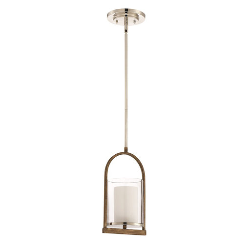 Craftmade Lark 1 Light Pendant, Polished Nickel/Whiskey Barrel