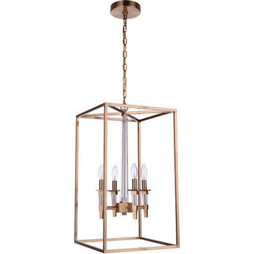 Craftmade Tarryn 4 Light Foyer Pendant, Satin Brass - 53234-SB