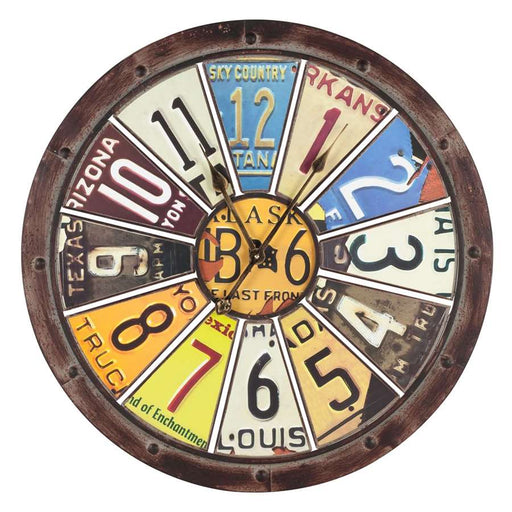 Cooper Classics Hildale Clock, Distressed Brown