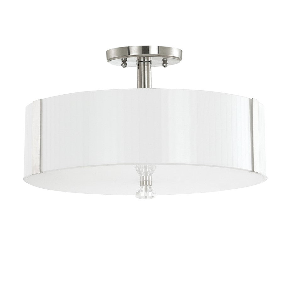 Capital Lighting Alisa 3 Light Semi Flush, Polished Nickel, Milk