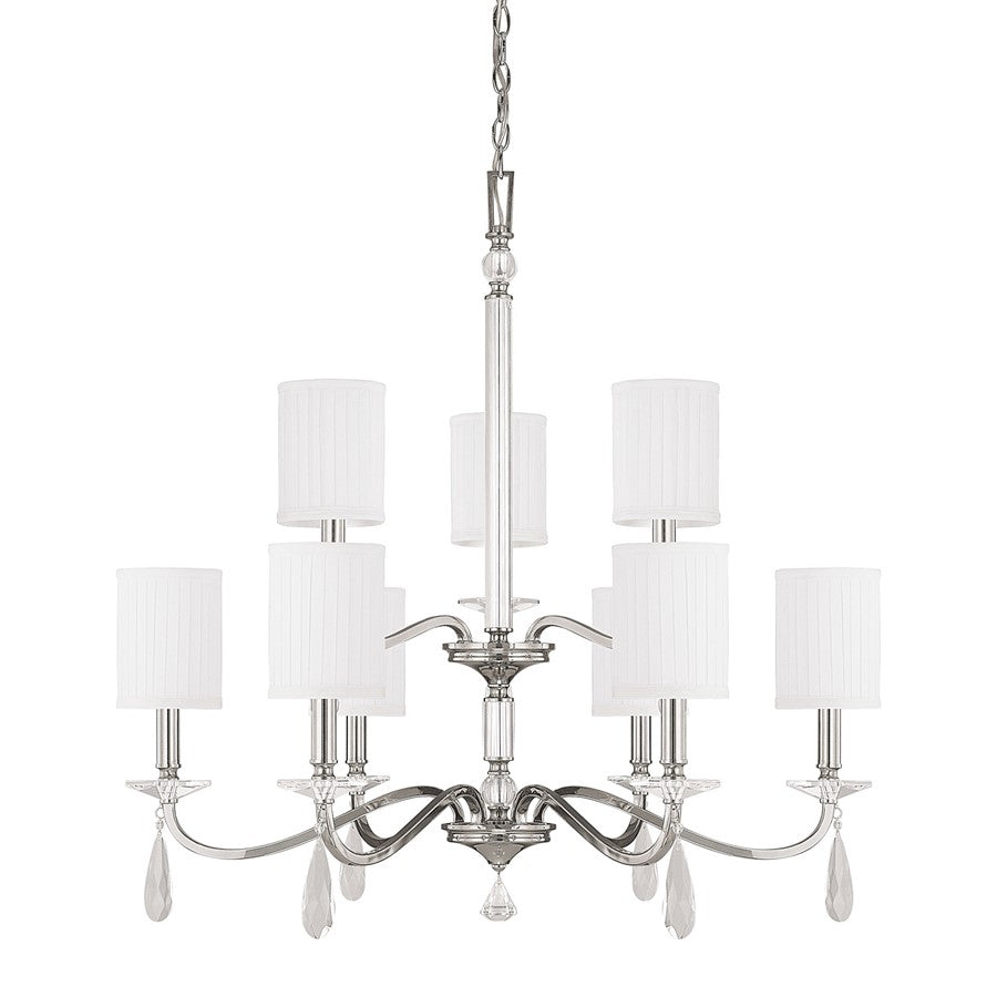 Capital Lighting Alisa 9 Light Crystal Chandelier in Polished Nickel
