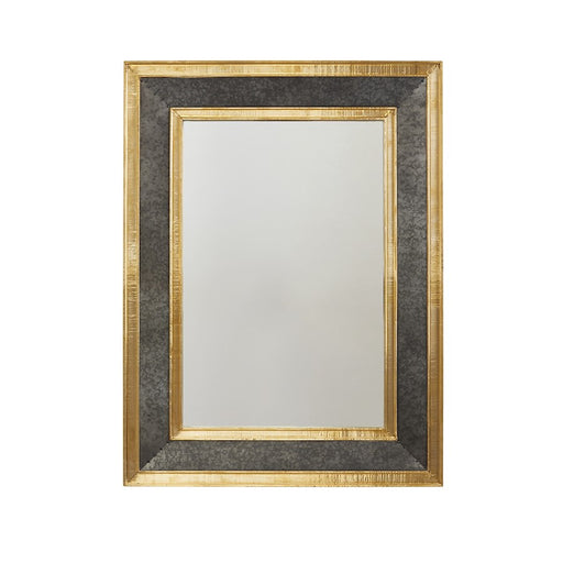 "Capital Lighting Metal Frame 27"" Mirror, Galvanized Black/Brass"