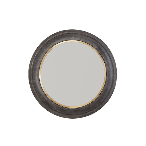 "Capital Lighting Metal Frame 32"" Mirror, Galvanized Black/Brass"