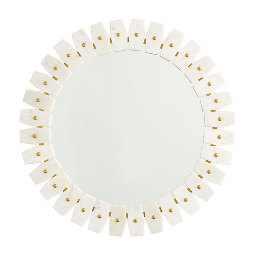 Capital Lighting Marble Frame Mirror, White Marble with Brushed Brass