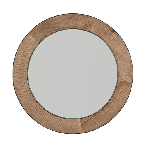 Capital Lighting Mirror, Natural Rough Sawn Wood with Zinc Metal