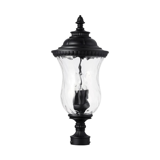 Capital Lighting Ashford 3-Light Outdoor Post Mount, Black/Water - 939832BK