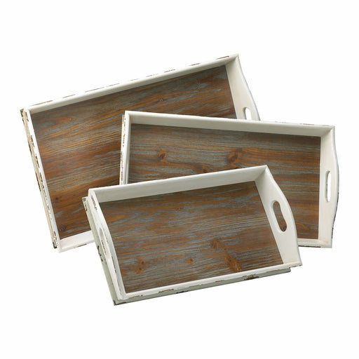 Cyan Design Alder Nesting Trays set of 3, Distressed White and Gray