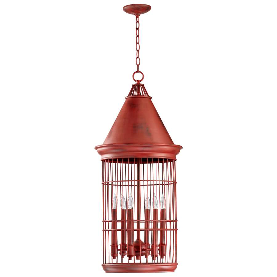Cyan Design Conical Birdcage Pendant, Red