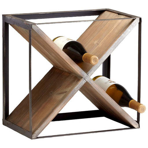 Cyan Design Cube Wine Holder, Raw Iron and Natural Wood