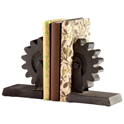 Cyan Design Gear Bookends, Raw Steel - 05347