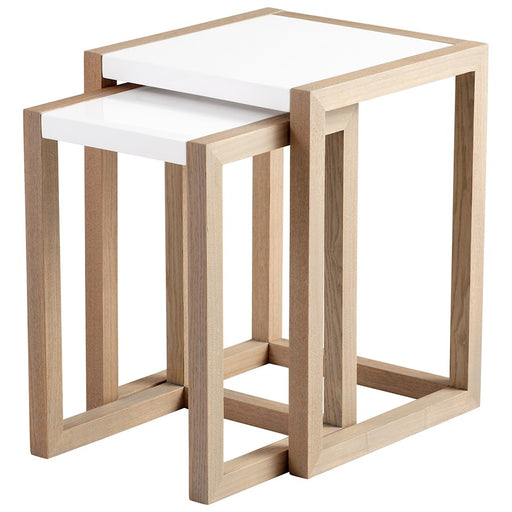 Cyan Design Becket Nesting Tables, Grey Veneer and White