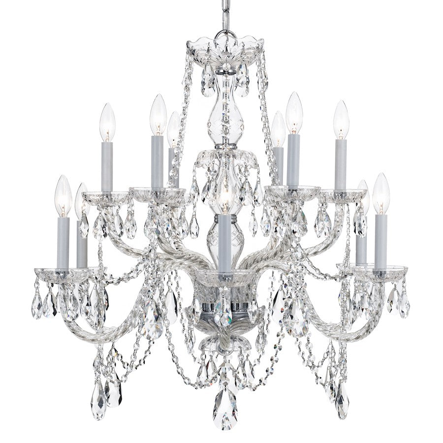Crystorama Traditional Crystal 12 Light Chrome Chandelier
