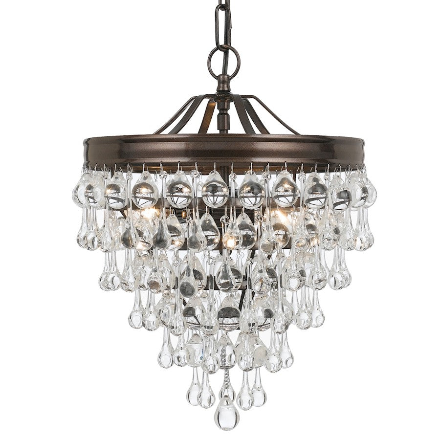 Crystorama Calypso 3 Light Crystal Teardrop Bronze Mini Chandelier