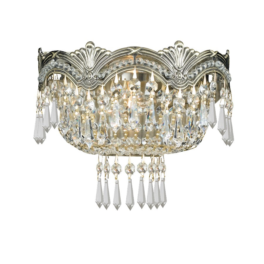 Crystorama Majestic 2 Light Clear Crystal Brass Sconce I