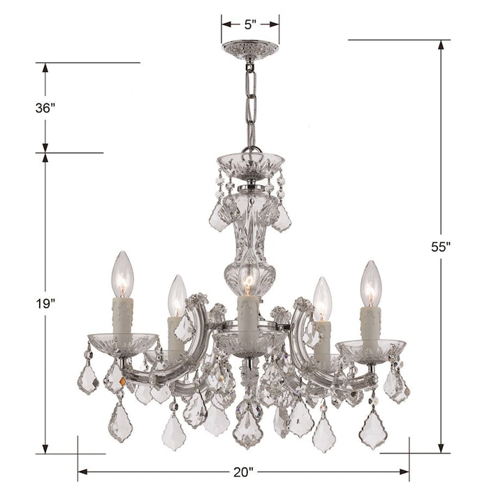Crystorama Maria Theresa 5 Light Chrome Mini-Chandelier w/Clear Hand Cut Crystal